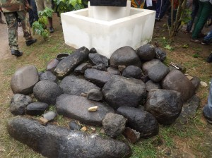 These special stones at the Palace of the ObolLoponof Ugeparesaid to have accompanied the Ugep people on their migrations to present day Ugep.