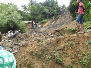 Excavation attempt on the building swept away by the landslide