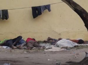 Street kids sleeping at Atekong junction